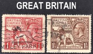 Great Britain Scott 185-86  complete set  F to VF used.