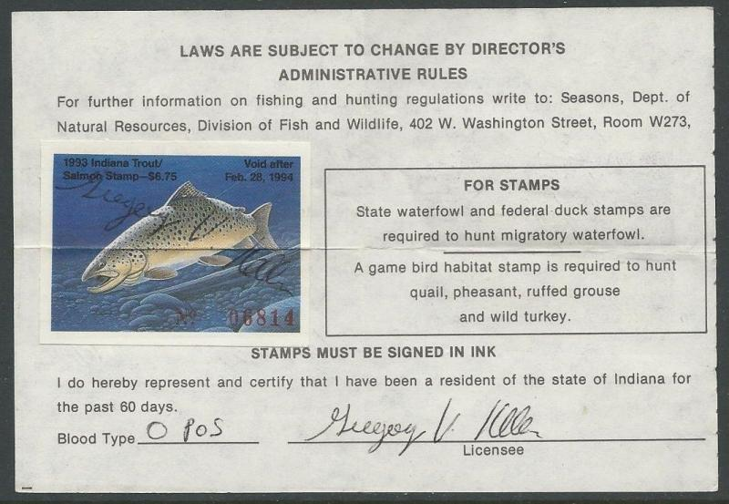 USA 1993 INDIANA Resident Hunting and Fishing License. Trout Revenue #44 Signed