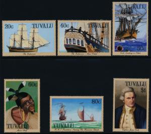 Tuvalu 490-6 MNH Sailing Ships, Captain Cook, Maori Chief