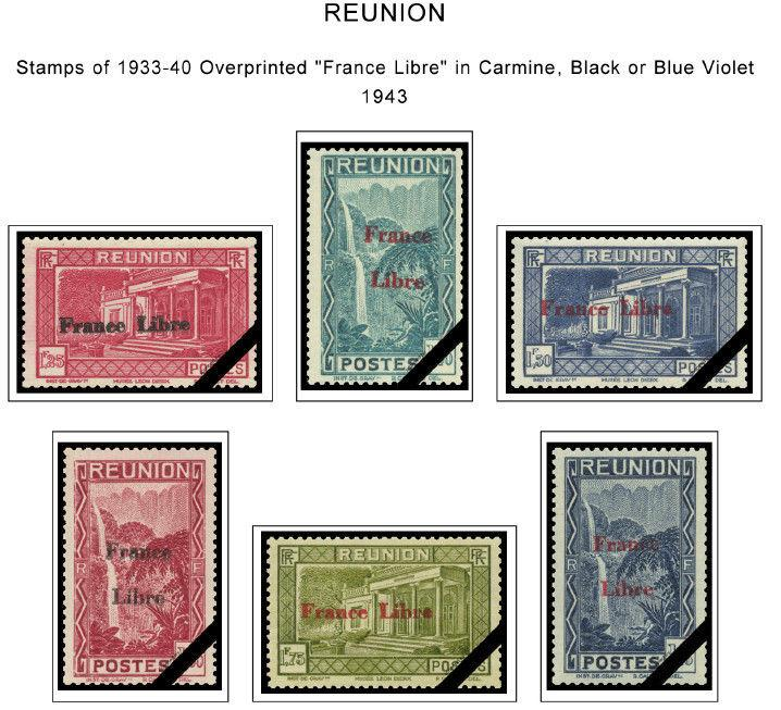 COLOR PRINTED REUNION 1852-1974 STAMP ALBUM PAGES (47 illustrated pages)