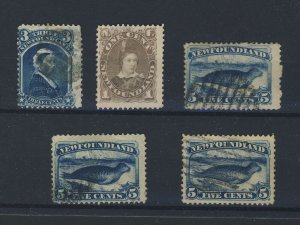 5x Newfoundland Stamps; #34-3c #42-2c MNG 3x #54-5c Seals Used F/VF GV = $112.00