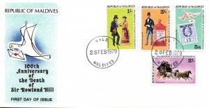 Maldive Islands 7794-796,798 Rowland Hill U/A FDC