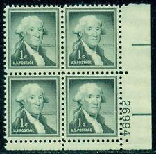 SCOTT # 1031 WASHINGTON PLATE BLOCK GEM MINT NEVER HINGED