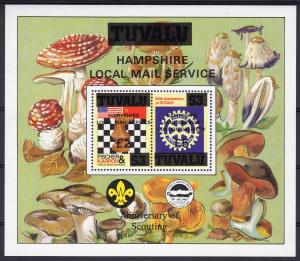 Tuvalu 1986 SG#376 Chess/Rotary/Fungi/Scouts S/S ovpt.Hamphire Local Mail MNH
