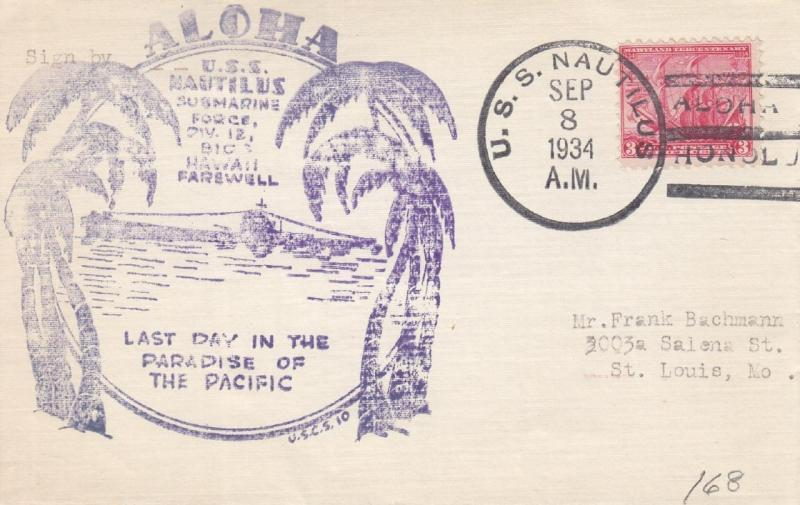 1934, USS Nautilus, Last Day in Hawaii, Back Flap Missing (N434)