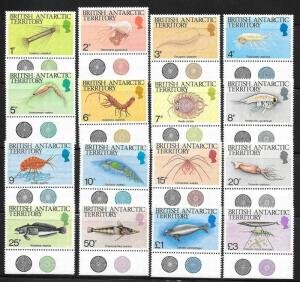 British Antarctic Territories BAT 1984 Marine Life Scott 102-116 VF NH Cat US$23