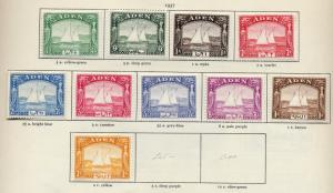 Aden 1937 sg 1 - 10 Dhows set to 2R mint, fine lightly mounted mint
