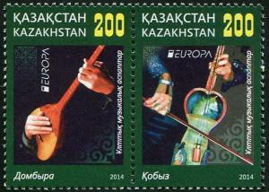 HERRICKSTAMP NEW ISSUES KAZAKHSTAN Sc.# 741 EUROPA 2014 Musical Instruments