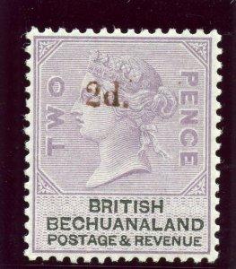Bechuanaland 1888 QV 2d on 2d lilac & black (red ovpt) MLH. SG 23. Sc 25.