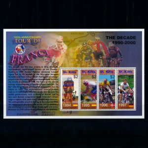 [101734] St. Kitts 2003 Cycling tour de France Indurain Riis Ullrich Sheet MNH
