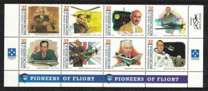 Micronesia Pioneers of Flight 5th series 8v Bottom Strip SG#418-425