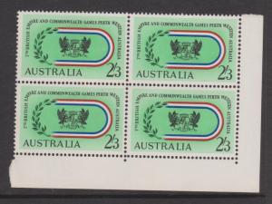 Australia 1962 Comm. Games Sc#350 Corner Block of 4 Mint Hinged on 2 stamps