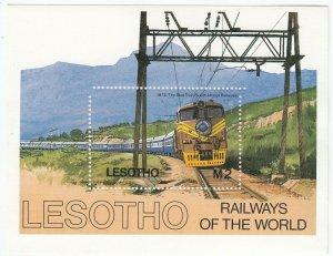 Lesotho; South African Railways, MNH The Blue Train Class 6E1 Sheetlet, 1984