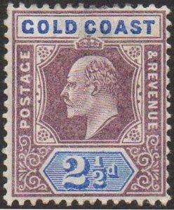 Gold Coast 1902 2½d dull purple and ultramarine MH
