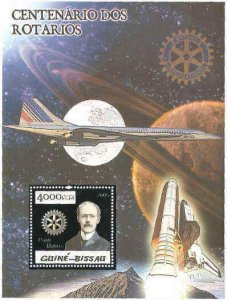 Guinea-Bissau Rotary & Space Silver Foil Sheet 5p09bs