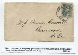 1862 Charleston SC Confederate States #1 4 margin cover [4723.18]