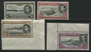 Ascension KGVI 1944 values 1/ to 10/ all perforated 13 1/2 unmounted mint NH