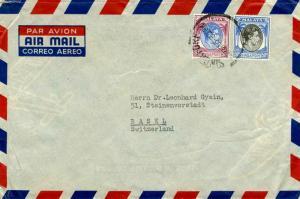 Singapore 50c and $1 KGVI 1955 Singapore Airmail to Basle, Switzerland.  Some...