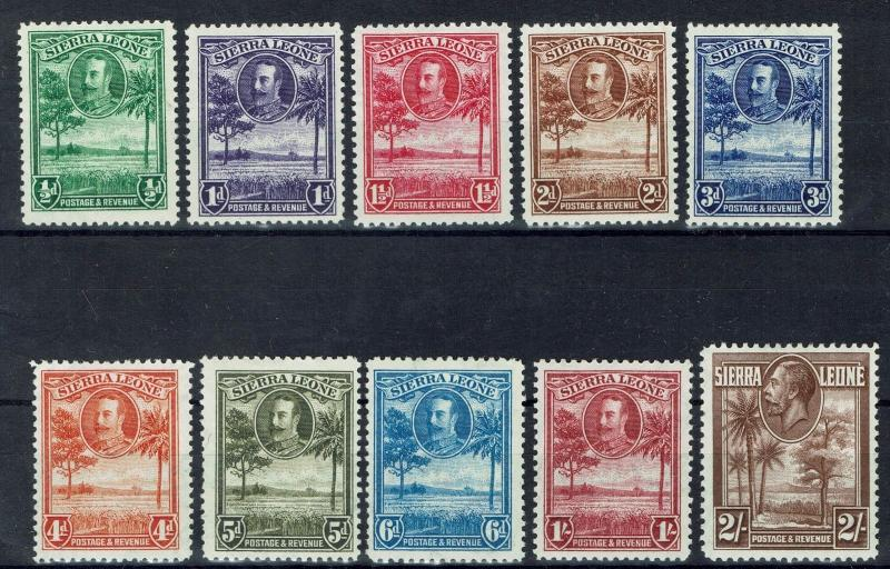 SIERRA LEONE 1932 KGV TREE 1/2D TO 2/-