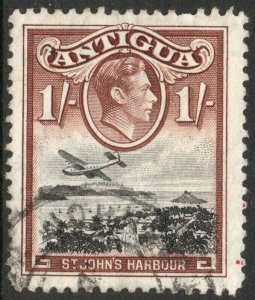 ANTIGUA-1949 1/- Black & Red-Brown Sg 105a FINE USED V38039