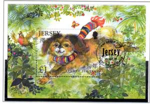 Jersey Sc 1201 2006 Year of Dog stamp sheet used