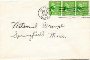 U.S. Scott 839 (3) Prexies On 1940 1st Class Cover to Massachusetts