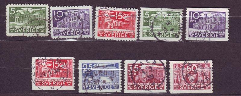 J22833 JLstamps 1935 sweden set used #239-47 designs