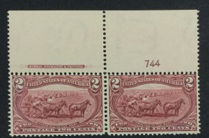 MOMEN: US STAMPS #286 PLATE IMPRINT PAIR MINT OG NH LOT #70930