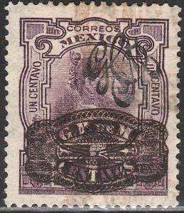 MEXICO 587, 5cts ON 1ct CARRANZA + BARRIL SURCHARGE. USED. F-VF. (207)