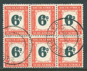 South Africa J44 block of 6 Used 1952 6p wmk.201.