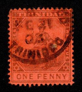 TRINIDAD STAMP - SCOTT #78 ONE PENNY BRITANNIA TYPE II USED CDS 1901