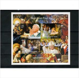 Chad Pope John Paul II DeLuxe Sheet Imperforated mnh.vf