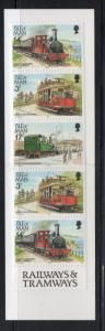Isle of Man Sc 356a 1989 Railways & Tramways booklet pane in cpl booklet mint NH