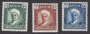 Aden #1-3 mint, Sultan Sir Salehbin Galibal Quaiti,  issued 1942