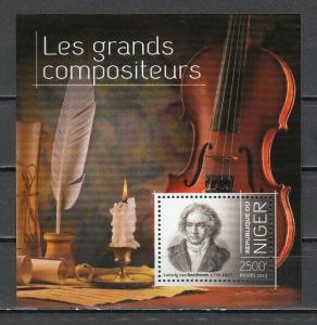 Niger, 2013 issue. Composer Beethoven s/sheet.