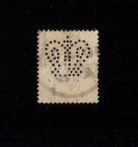 Sg 211 Used Perfin Error Stamp Cat.Value $60 No B.T.below the Perfin Crown F-VF