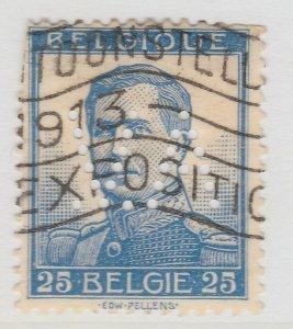 Perfin Belgium 1912-13 25c Used Stamp A19P48F968