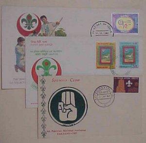 BANGLADESH FD BOY SCOUT 1967,1981,1982 CARD CACHET UNADDRESSED