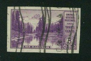 US 1935 3c deep purple Mt. Rainier Imperf, Scott 758 used, Value = 45c