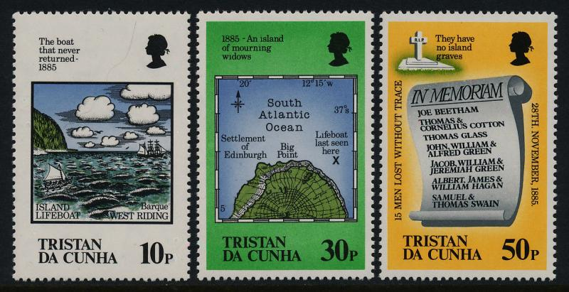 Tristan da Cunha 381-3 MNH Map, Loss of the Lifeboat