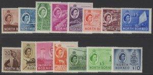 NORTH BORNEO SG372/86 1954-9 DEFINITIVE SET MNH