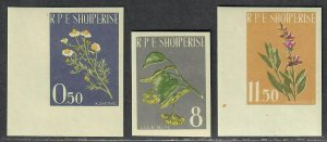 $Albania Sc#613-615 M/NH, complete set, imperf set, Cv. $30