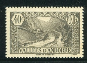 FRENCH ANDORRA; 1932 early Pictorial issue fine Mint hinged 40c. value
