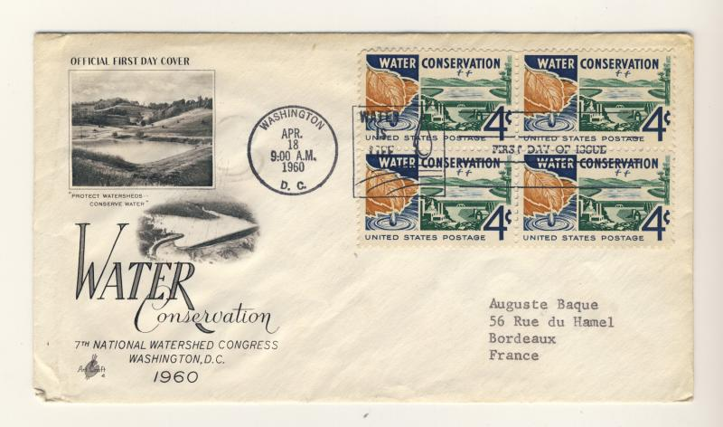US - 1960 - Scott 1150 FDC - Water Conservation - Block of 4