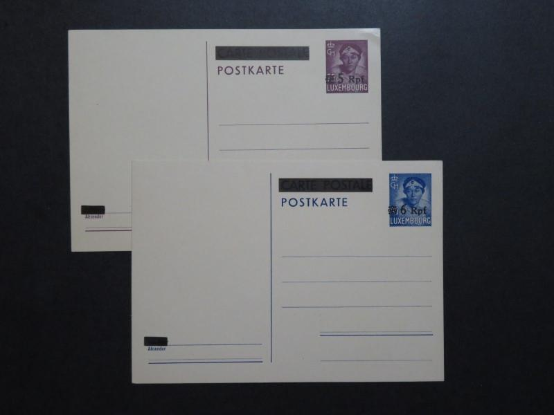 Luxembourg 2 German Occupation Postal Cards / Minor Corner Crease - Z8729
