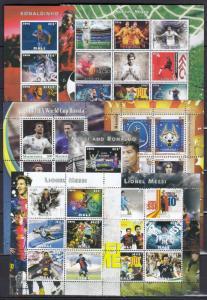 18diff pcs Sport Fußball spieler Weltmeisterschaft -  private Ausgabe/not MNH