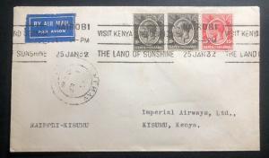 1932 Nairobi Kenya British KUT First Flight Airmail Cover FFC To Kimusu