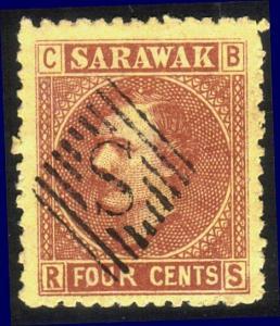 SARAWAK 1875 3c SG5 superb used S in bars cancel...........................12917
