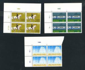 Switzerland-Scott's # 729,731,732 Special Stamps 1982-Blocks of 4-M NH