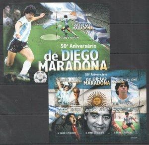 BC824 2010 S.TOME & PRINCIPE SPORT FOOTBALL 50TH ANNIVERSARY MARADONNA KB+BL MNH